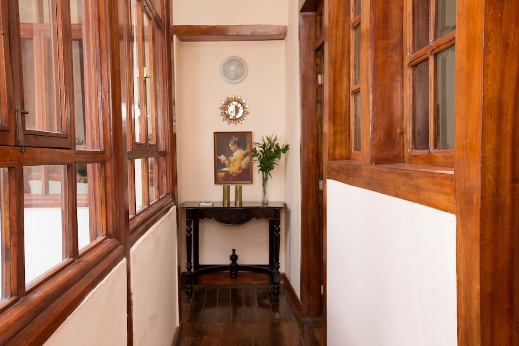 Hallway with restored wooden windows