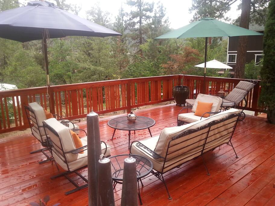 large deck with mountain views