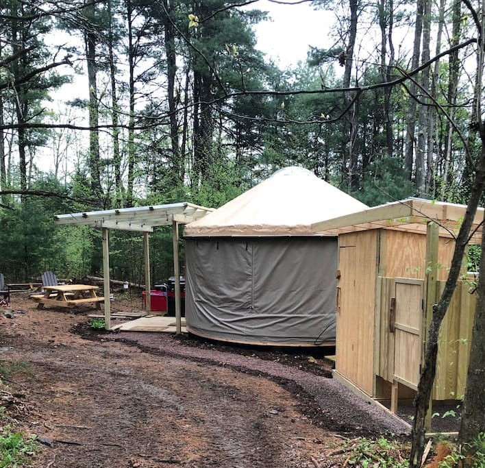 Our wonderful 16' yurt was pitched for the first time in Fall 2017 after arriving from Pacific Yurts in Oregon.