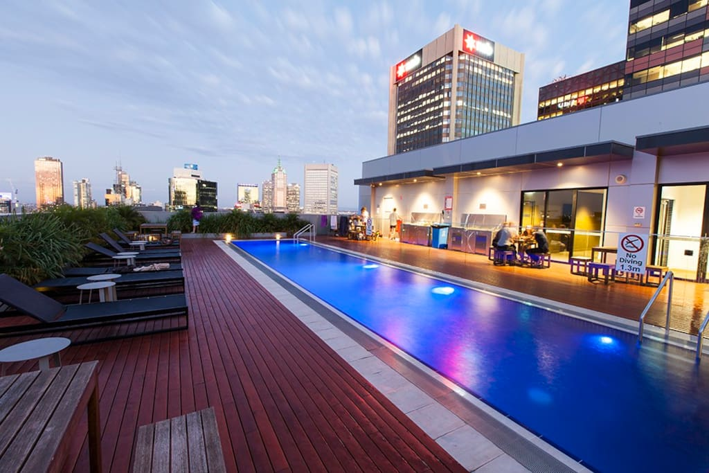 Daylight view of the Rooftop Pool