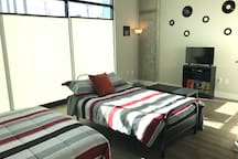 2 queen beds downstairs of the loft!! Sleeps 4 people very comfortably!!!