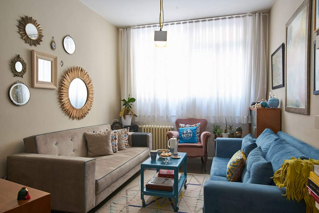 Living area: The sofa on the left can be transformed to a double bed.