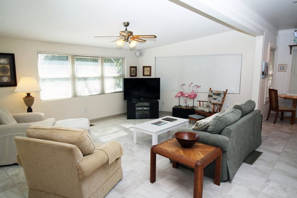 Comfortable living area with flat panel TV and DVD player