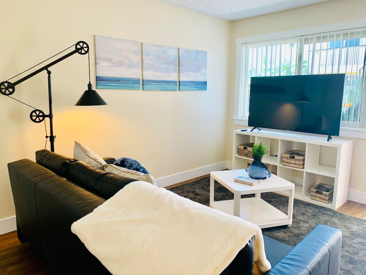 Relax and watch a movie on my large flat-screen TV!
