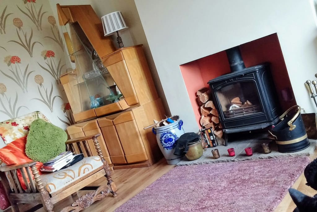 Our lounge with cosy log fire
