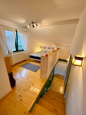 Upstairs -> bedroom and a private bathroom