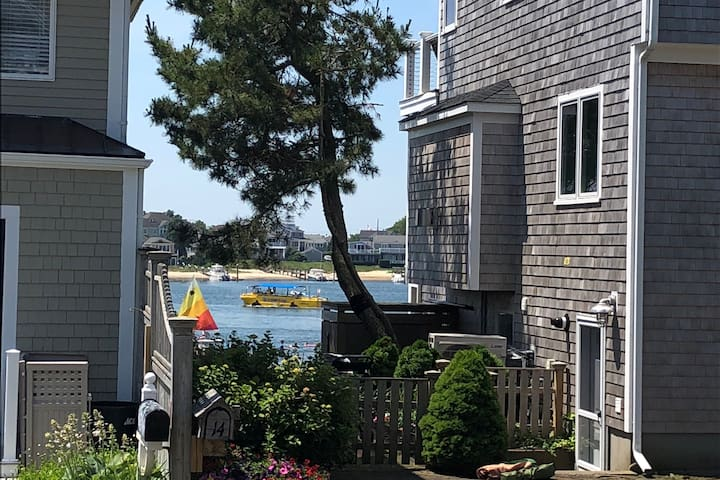 View of beach and harbor from cottage