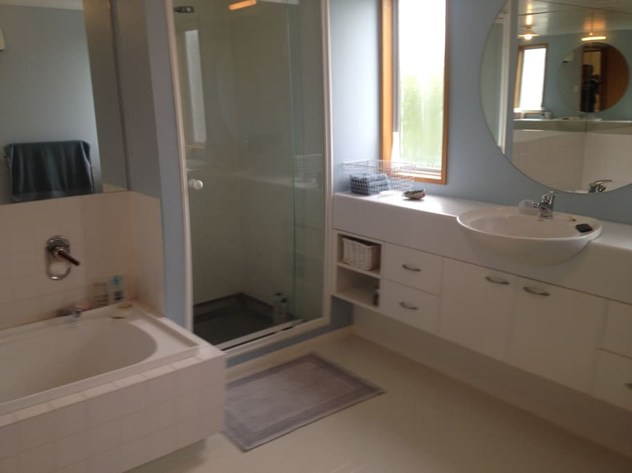 Bathroom with shower, bath & vanity opposite bedroom. Separate toilet next to bathroom.