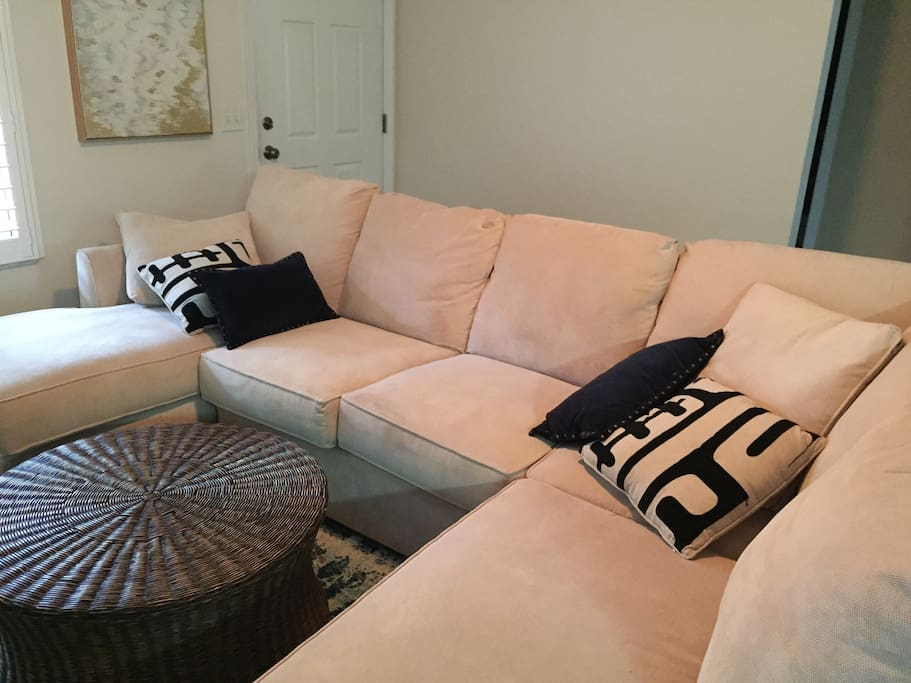 Comfy sectional for relaxing with the whole family!
