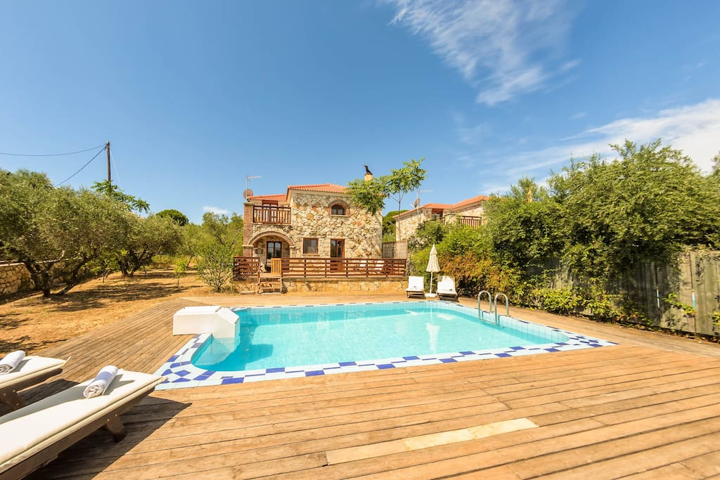 The Villa's seasonal swimming pool and beautiful surroundings