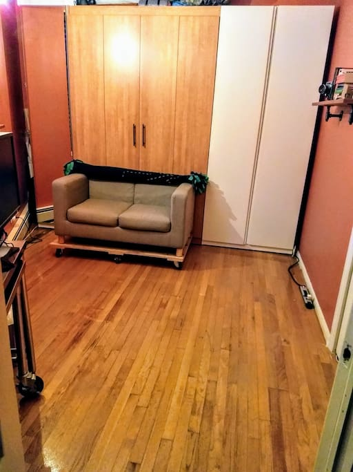Room with murphy bed up