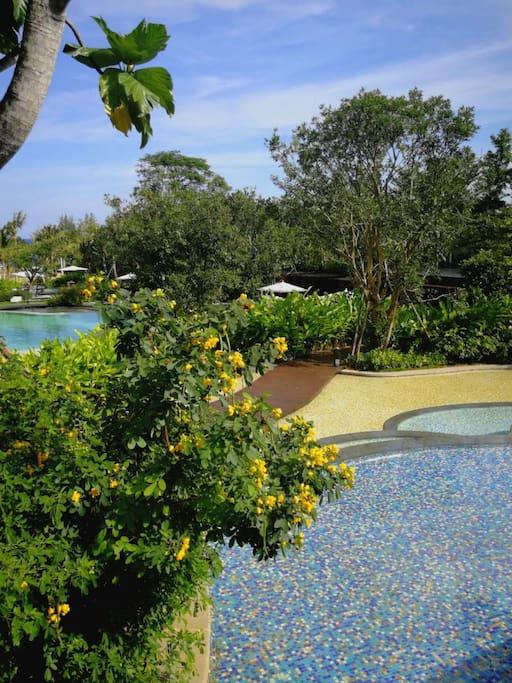 瀑布式彩池花园