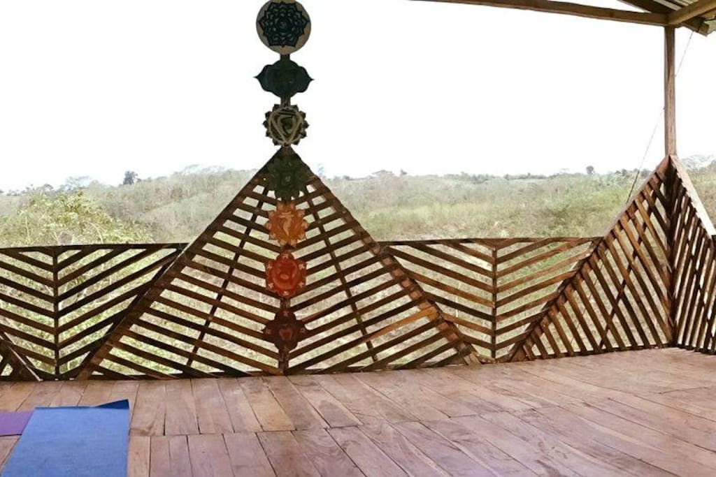 Yoga terrace in the hills