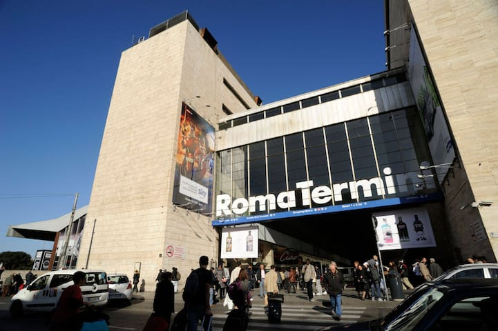 5 min walk from the main station Termini ( train , bus , taxi , metro , tram )