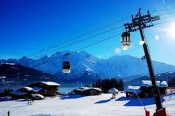 Un grand ski face au Mont Blanc