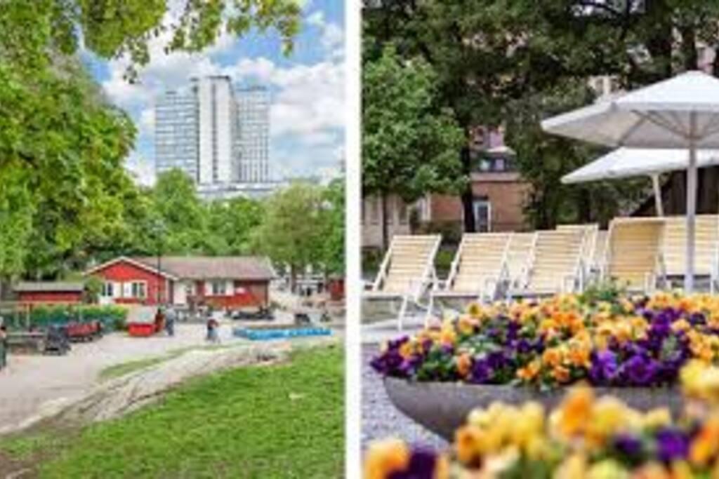GRÖN PARK Precis runt knuten finns en av Södermalms mysigaste parker för picknick. Flera lekplatser, klätterställningar för stora och små, gungor och en fotbollsplan med konstgräs. Dessutom gratis bad i de roliga fontänerna under sommaren.