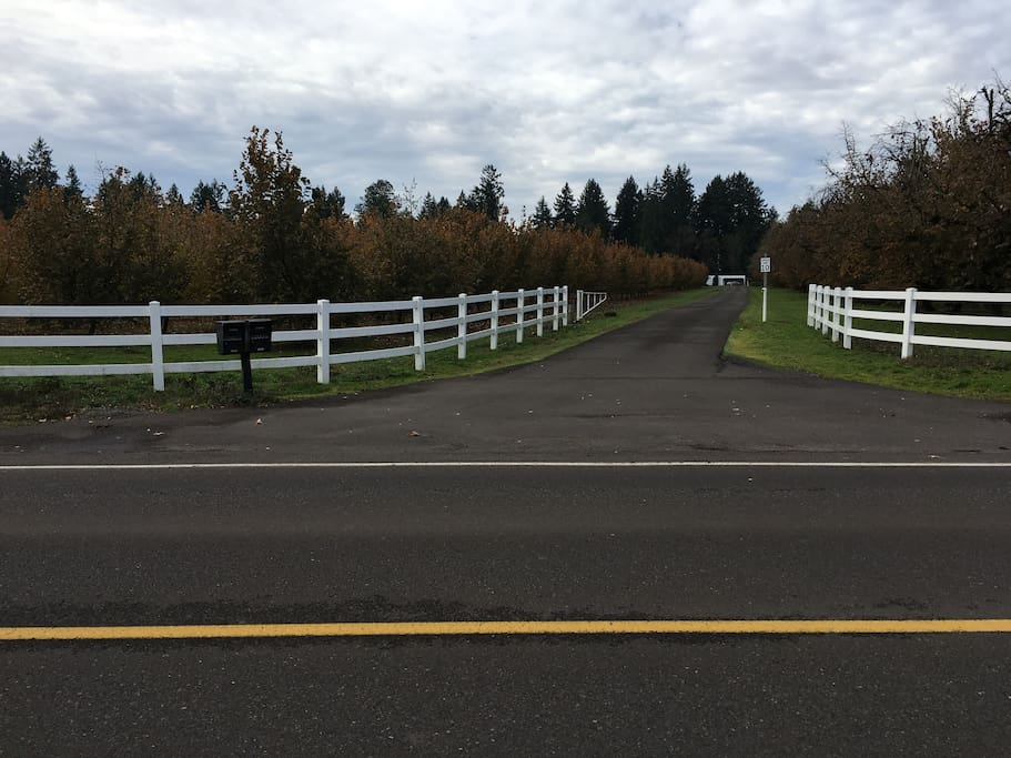 Entrance between white-rail fence off of Airport Road.  Please drive slowly to the end of payment and stay right.  Parking straight ahead.