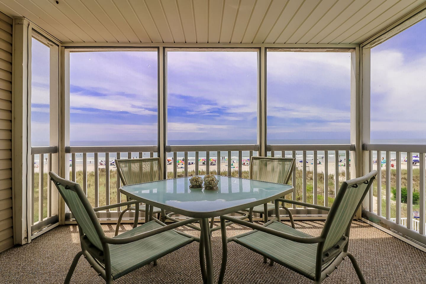 Screened Ocean Front View with Side Pool View