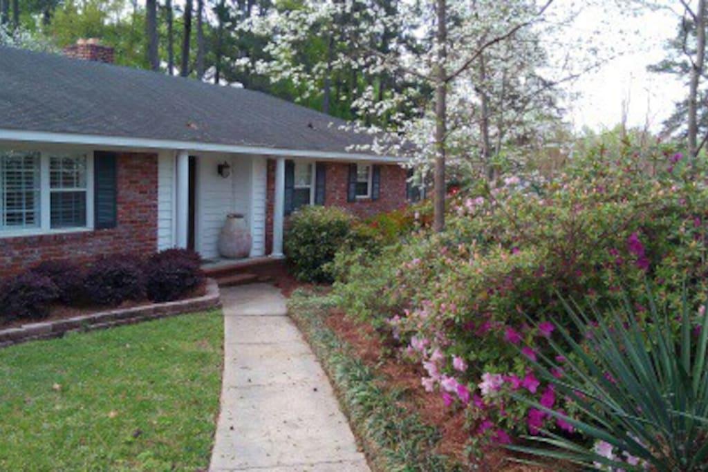 Walk way to the front door of the home