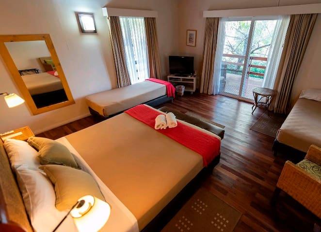 1 cama doble y 2 individuales