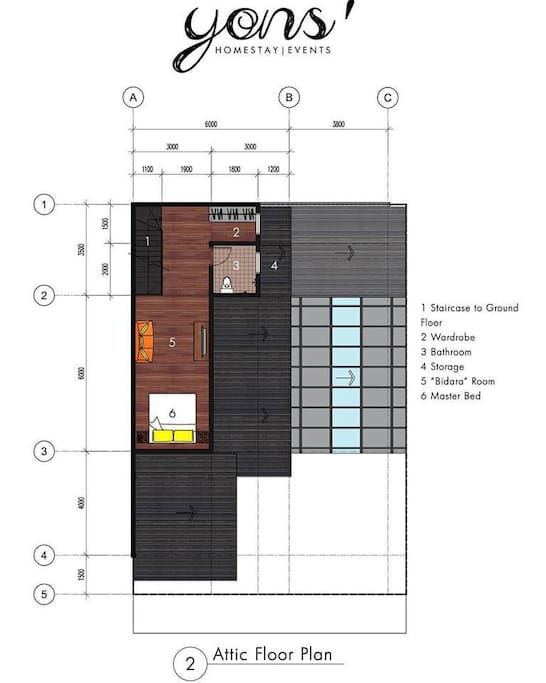 Attic Floor Plan of the Homestay.