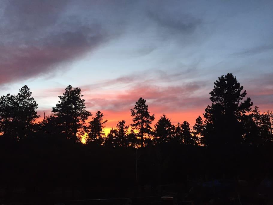 Sunrise from Lone Moose Lodge