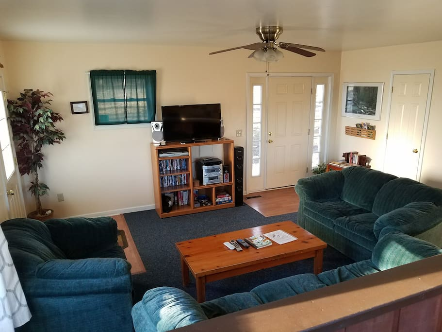 flat screen TV, books, variety of movies, games and music for your enjoyment