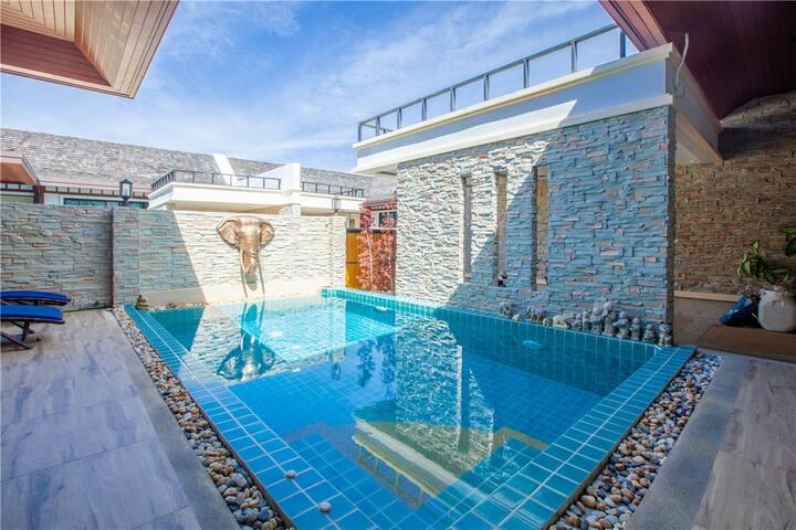 2A海滩别墅,5天预订送接机,卧室私人泳池别墅A栋