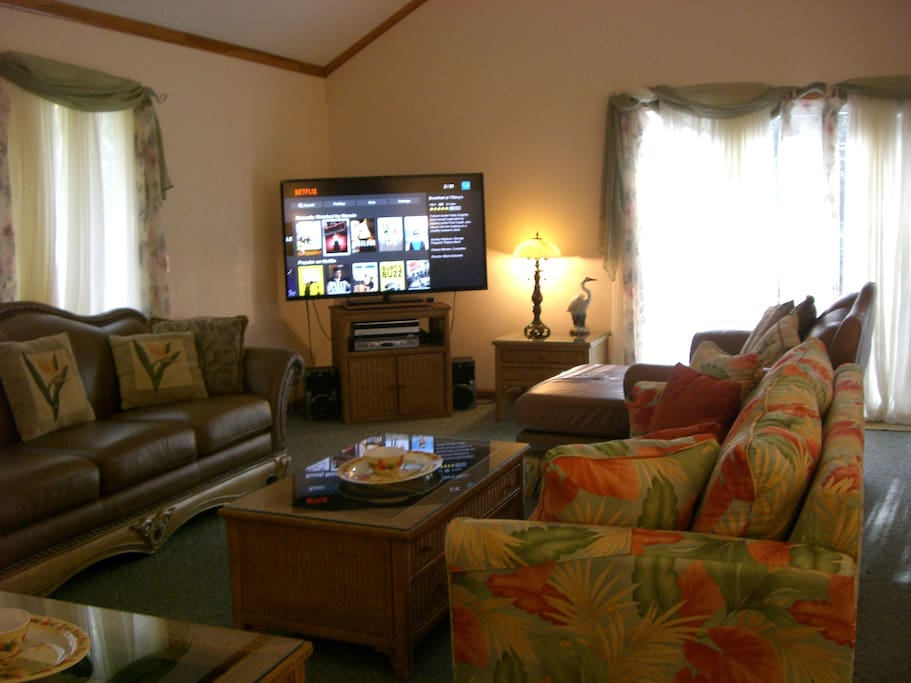 Great room has large-screen TV and stereo player with speakers.  TV gets Netflix and Amazon Prime channels.  Mediacom cable TV gets 500 channels. There are two internet providers for house in case one goes down.