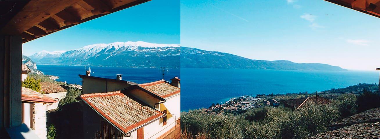 Stein-Rustico  mit Panoramablick auf den Gardasee