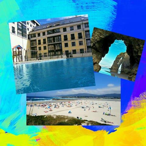 Apart. Playa de las Catedrales con piscina. Foz