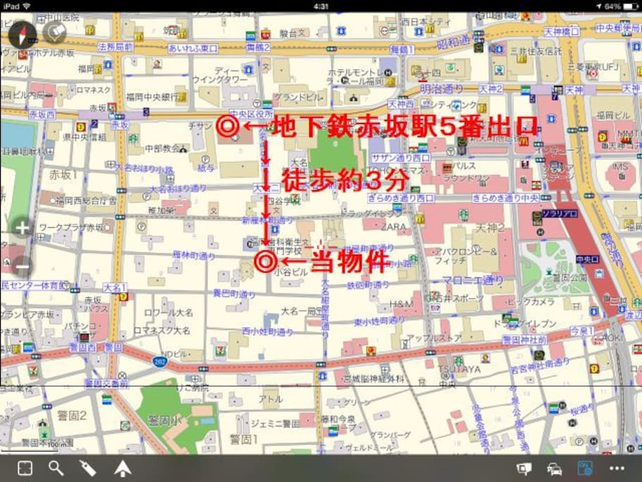 地図(MAP) 地下鉄赤坂駅5番出口より徒歩おおよそ3分、 天神岩田屋まで徒歩5分!