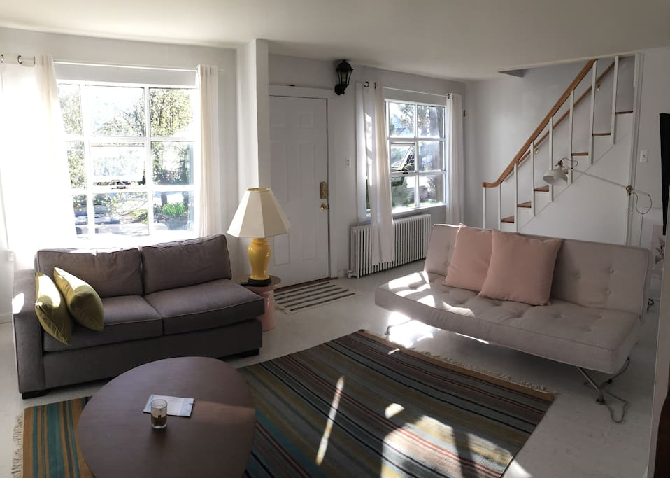 Living room looking west to bay windows