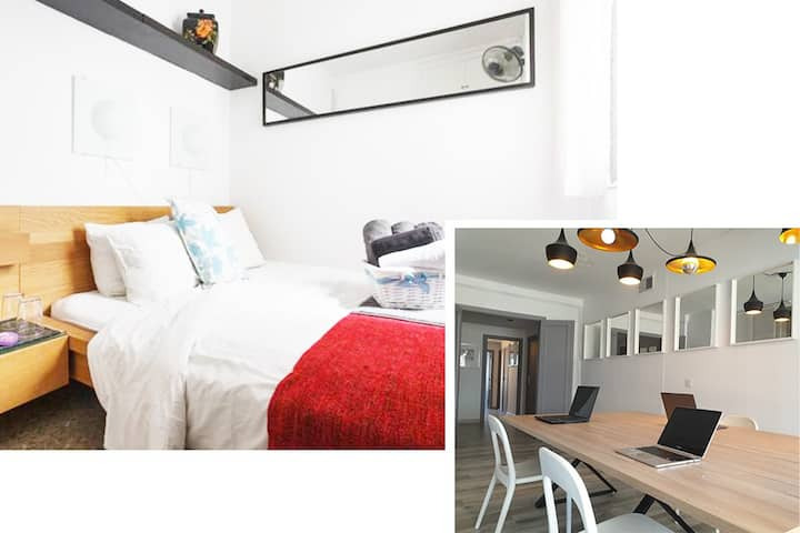 Co-working office & cute double bedroom No3
