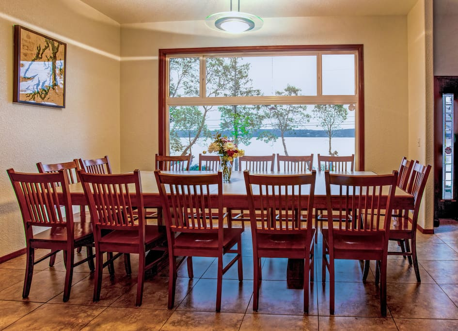 Our custom made table seats 14 people comfortably with a fantastic view of Hood Canal and Dabob Bay.