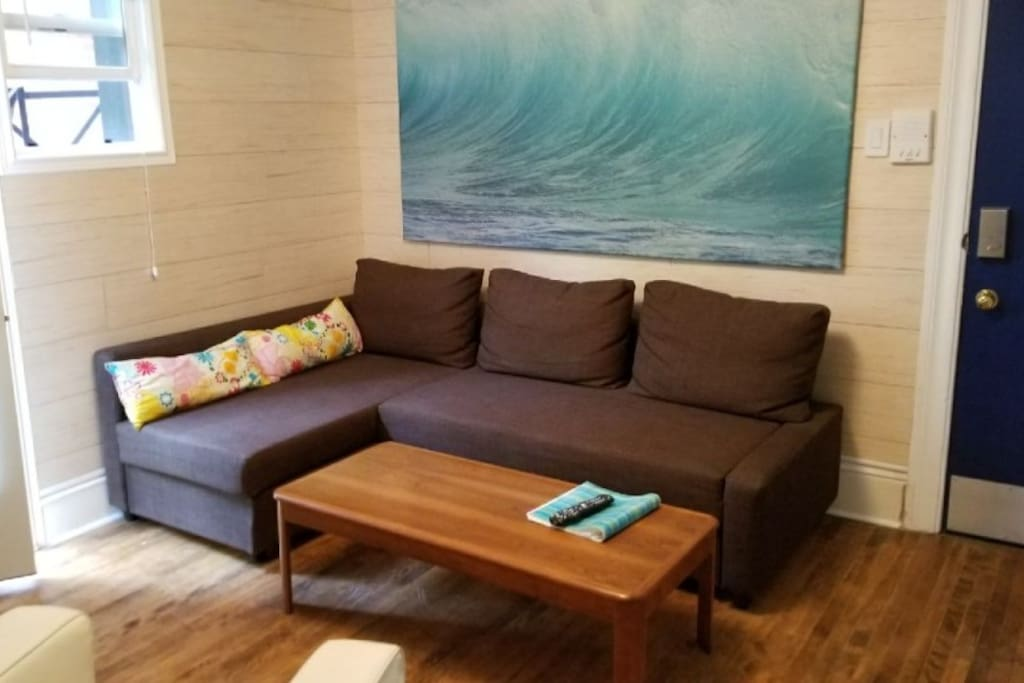 New sofa bed in the living room.