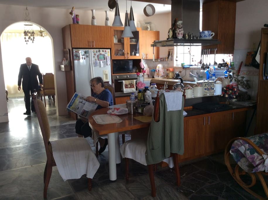 This spacious kitchen is for you to use it, if you feel like cooking home. Grandpa and granny are usually home, especially granny. They are good talk if you can speak Spanish and desire to do so, otherwise they will respect your privacy.