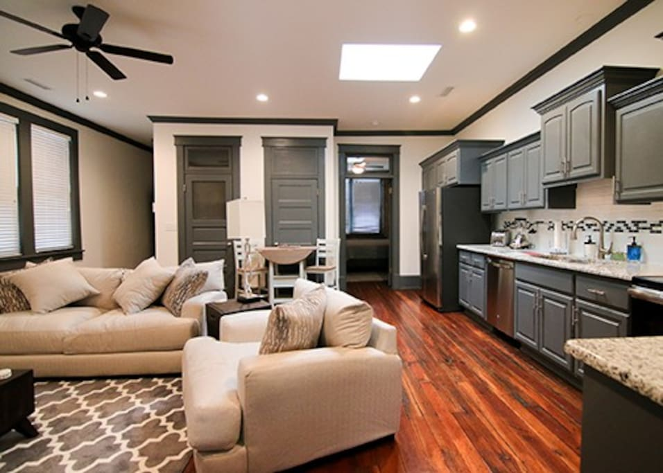 shared living and kitchen