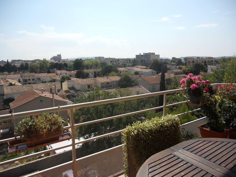 Belle terrasse ensoleillée et fleurie Aucun vis à vis vue sur Narbonne,cathédrale et Canigou