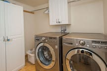 washer and dryer with soap provided for guest use