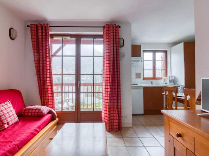 Studio cabine avec balcon, parking, local ski et piscine. - FR-1-401-185