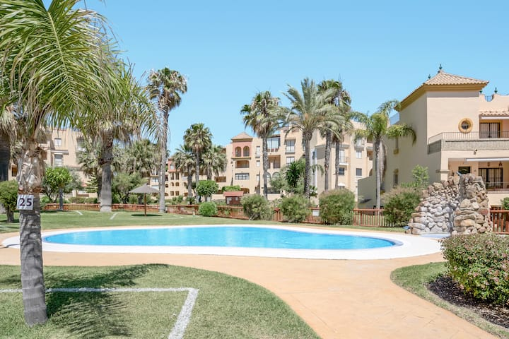 Comfortable Holiday Apartment Jardines de Zahara with Pool, Wi-Fi, Balcony, Mountain View & Sea View; Parking Available, Pets Allowed