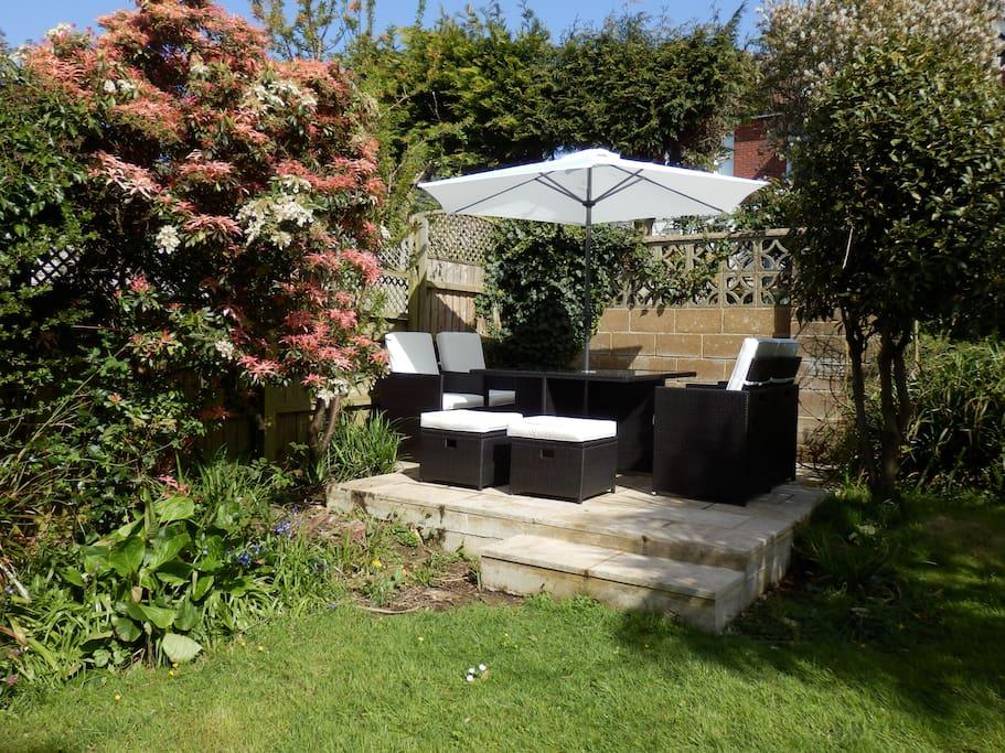 Sun trap patio in back garden