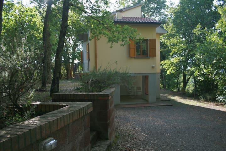 casa con bosco e vista mare