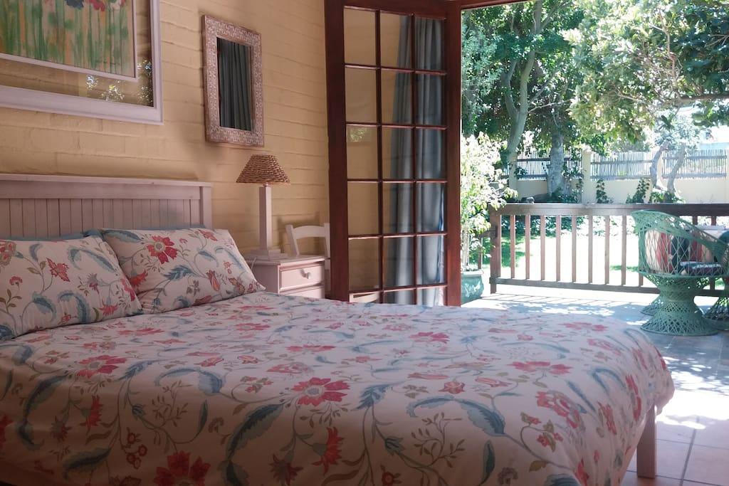Tranquil bedroom overlooking the garden