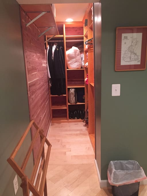 Cedar closet with plenty of space for hanging clothes