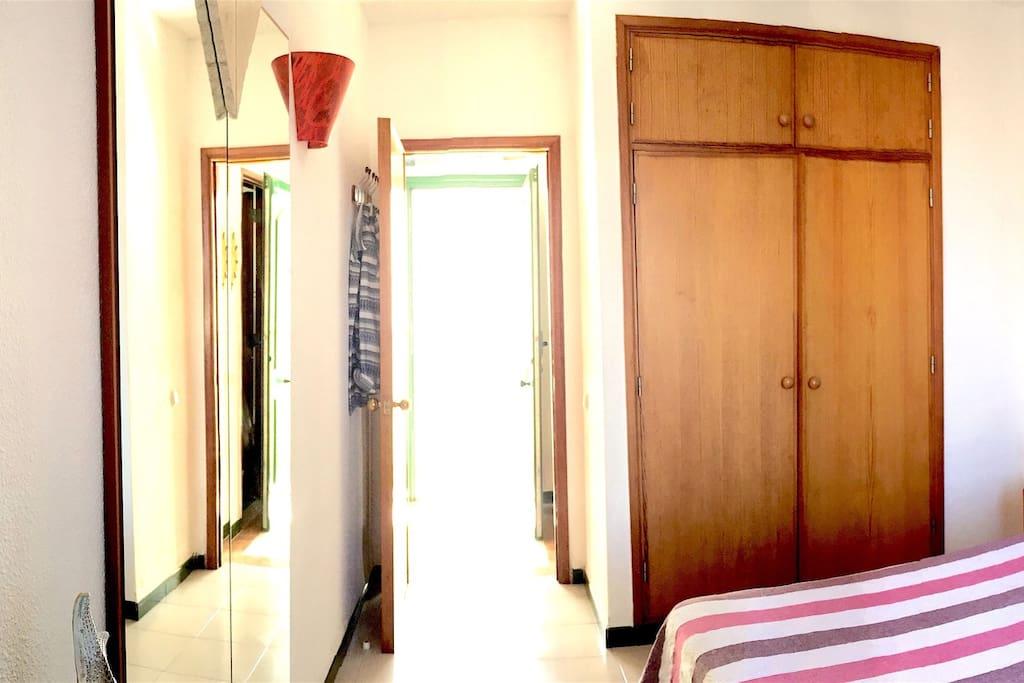Bedroom wardrobe and main entry door