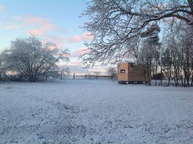 Tiny House 3 ein Wintererlebnis vor dem Kamin..