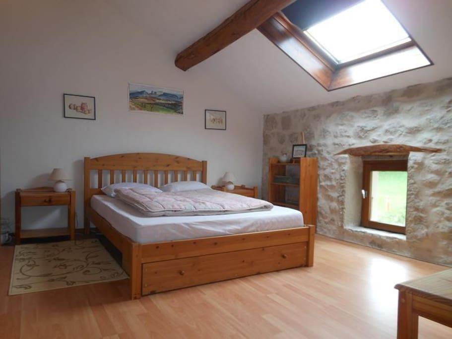 Une chambre avec lit double.