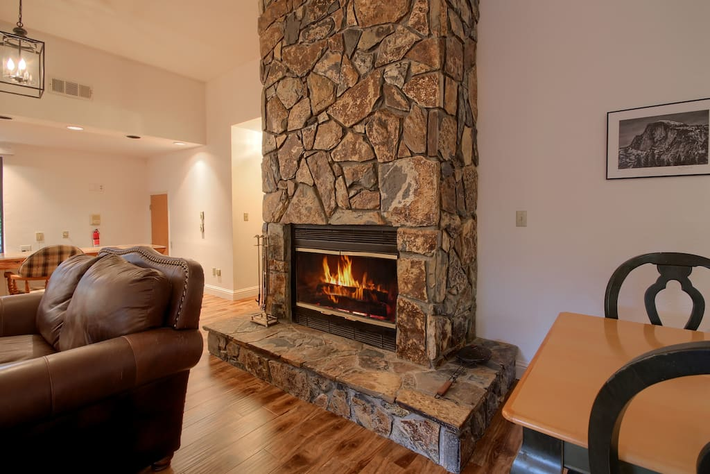 Grand Stone Fireplace in the Lodge Living Room.
